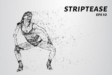 The stripper of the particles. Erotic dances are comprised of points and circles. Vector illustration