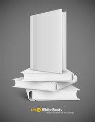 Book template with white cover and pile of books. Eps10 vector