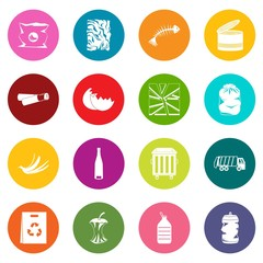 Waste and garbage icons many colors set