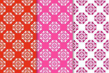 Set of red and white floral ornaments. Vertical seamless patterns