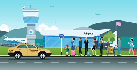 Many passengers are waiting for a taxi in front of the airport.