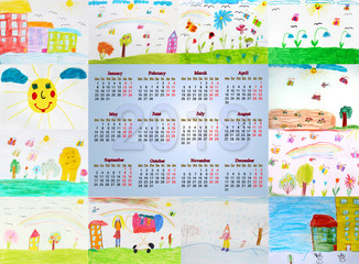 calendar for 2018 with childish drawings