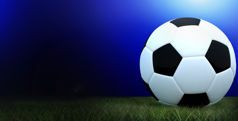 Football black and white color on grass soccer field with blurred blue gradient background,3D Rendering