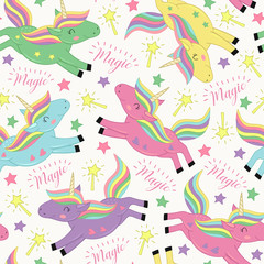 seamless pattern with magic flying unicorn  - vector illustration, eps