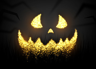 Evil smiling pumpkin, halloween background, Vector design.