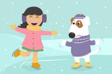 Girl ice skating with dog under the snow. Christmas card. Vector illustration.