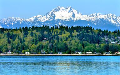 Bainbridge Island Puget Sound Mount Olympus Snow Mountain Washington