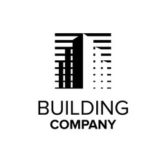 Building company logo. Property symbol. Abstract building illustration. Black real estate logo template