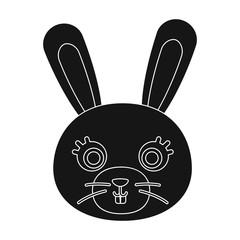 Rabbit muzzle icon in black style isolated on white background. Animal muzzle symbol stock vector illustration.