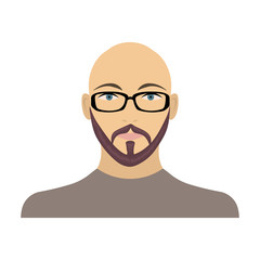 The face of a bald man with glasses, with a beard and mustache. The face of a man single icon in cartoon style vector symbol stock illustration web.