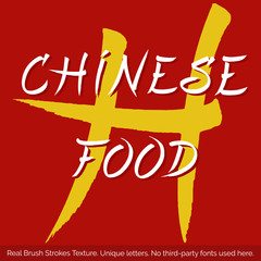 Chinese Food Signboard. Unique letters. Vector lettering label design