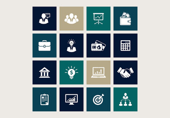 16 Square Teal and Brown Business Icons 1