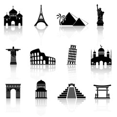 World famous buildings abstract silhouettes