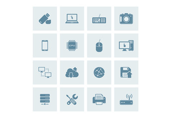 16 Square Blue Technology Icons 1
