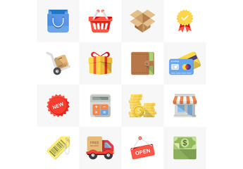 16 Bright Square Shopping and Commerce Icons 1