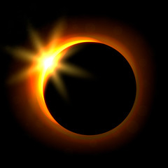 Solar eclipse image. Astronomical phenomenon of the closing of the shining sun by the moon.