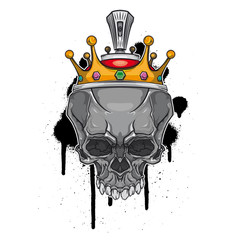 Skull with crown on graffiti background