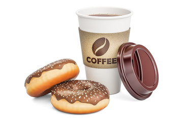 Disposable cup of coffee with chocolate donuts, 3D rendering