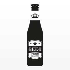 Beer bottle with label. Vector icon.