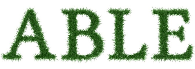 Able - 3D rendering fresh Grass letters isolated on whhite background.