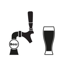 Beer tap with beer glass. Vector icon.