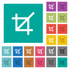 Crop tool square flat multi colored icons