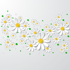 Floral background with 3d chamomiles and dots cutting paper isolated on white. Vector illustration
