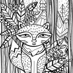 Page for color book with stylized fox sitting in forest. Hand drawn style, doodle, zentangle.