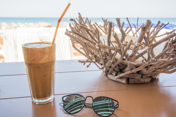 Cold coffee and glasses on beach - candleholder, beach, summer