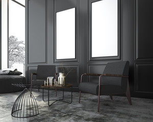 3d rendering mock up living armchair near classic black wall and window in room