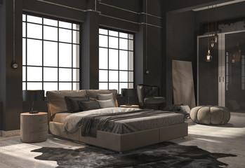 3d rendering loft bedroom with beige wood floor