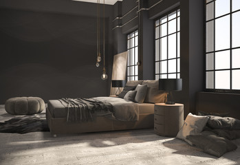 3d rendering loft bedroom with beige wood floor