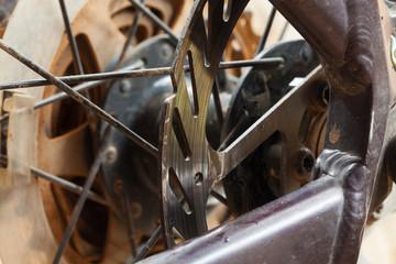 Mountain bikes disk brakes detail