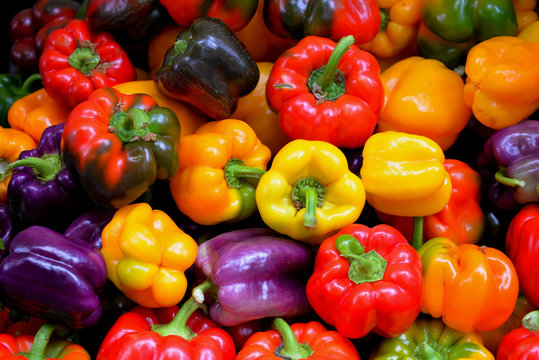 Colorful bell peppers, Farmer's Market, Portland, Oregon