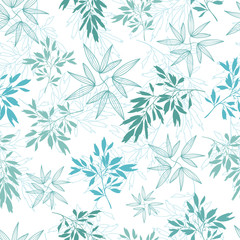 Vector teal tropical leaves summer seamless pattern with tropical green, blue plants and leaves on white background. Great for vacation themed fabric, wallpaper, packaging.