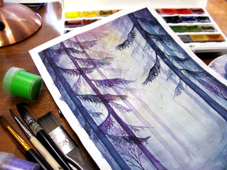 Watercolor creative art drawing magic forest wood nature gouache paint pot brush paintbrush photo