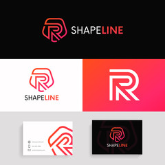 R letter linear logo shield icon sign with brand business card vector design.
