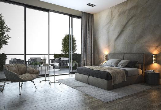 3d rendering loft modern bedroom near window view