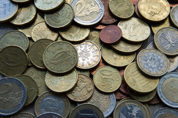 Mix of coins on neutral background