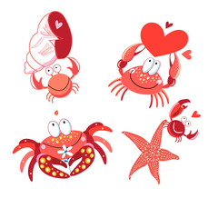 Set of vector in love with red crabs