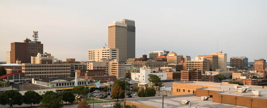 Panoramic View Downtown Omaha Nebraska City Skyline