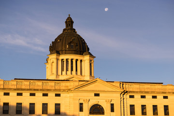 Moon Rising South Dakota State Capital Building Hughes County Pierre SD