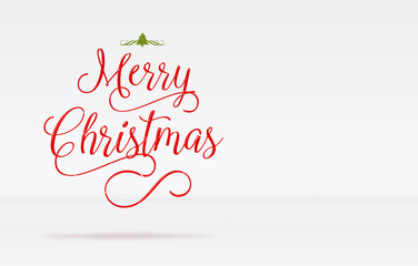 Merry Christmas and decorate tree word on white studio room background,Holiday greeting card,leave space for adding your content
