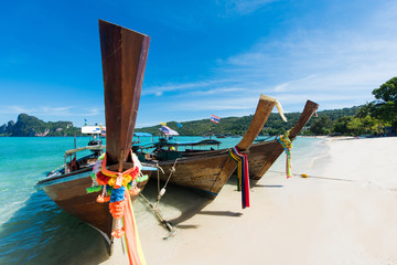 Long tailed boat Ruea Hang Yao in Phi Phi island Thailand