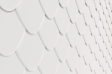 Pattern of white rounded roof tiles