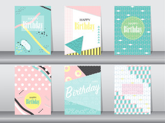 Set of birthday card on retro pattern design,vintage,poster,template,greeting,Vector illustrations