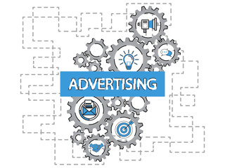 Advertising word cloud and marketing concept on gears target icon background. Flat illustration. Infographic business for graphic or web design layout