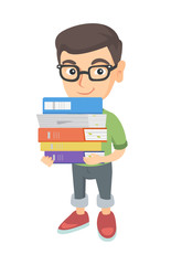 Little caucasian school child in glasses holding a big pile of textbooks in hands. School child carrying a huge stack of textbooks. Vector sketch cartoon illustration isolated on white background.