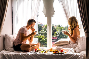 Couples Luxury Travel Lifestyle, Breakfast Together Vacation Experience, Honeymoon Holiday