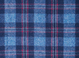 Blue wool Scottish checkered fabric